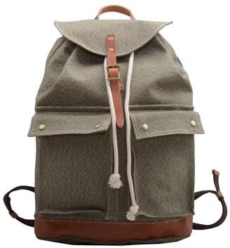 Touri 17'' Draw String Canvas Backpack In Artichoke Green