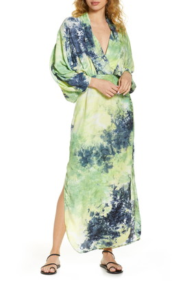 S/W/F Sunset Long Sleeve Dip Dye Maxi Dress