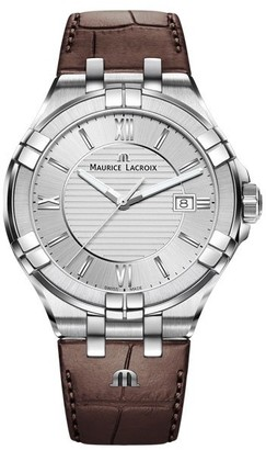 Maurice Lacroix Men's Stainless Steel Swiss Quartz Leather Strap Brown 20 Casual Watch (Model: AI1008-SS001-130-1)