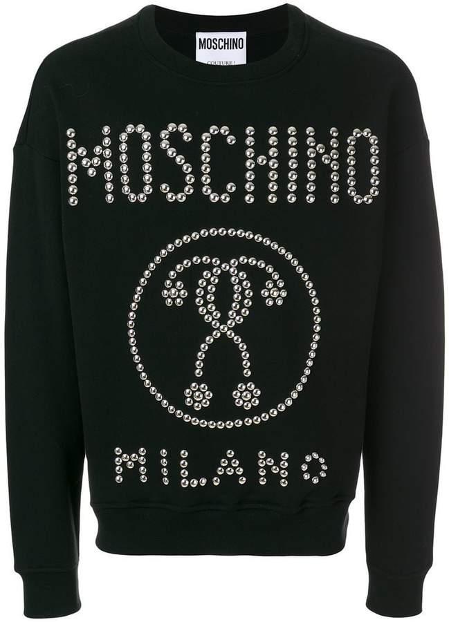 Moschino logo studded sweatshirt