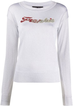 Frankie Morello crystal-embellished crew neck jumper