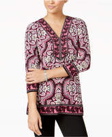 JM Collection Printed Embellished Tunic, Created for Macy's