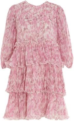 Ganni Floral Printed Pleated Georgette Mini Dress