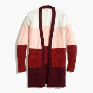 J.Crew Colorblock open-front cardigan sweater in extra-soft yarn