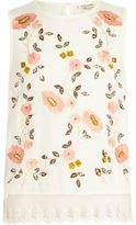 River Island Girls White floral embroidered shell top