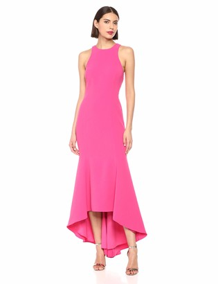Halston Women's Sleeveless High Neck Crepe Hi Lo Gown