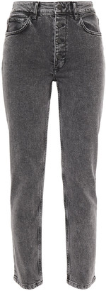 Anine Bing Frida Cropped Acid-wash High-rise Slim-leg Jeans