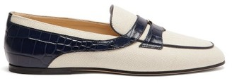 Tod's Crocodile-effect Leather-trimmed Canvas Loafers - Womens - Cream Navy