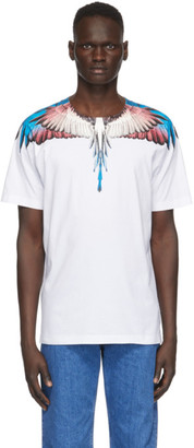 Marcelo Burlon County of Milan White and Burgundy Wings T-Shirt