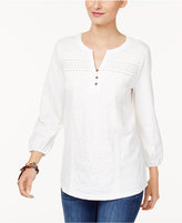 Style&Co. Style & Co Mixed-Lace Peasant Blouse, Created for Macy's