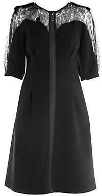 Fendi Women's Lace Detail Zip-Up Crepe Dress