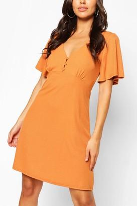 boohoo Button Front Flutter Sleeve Tea Dress