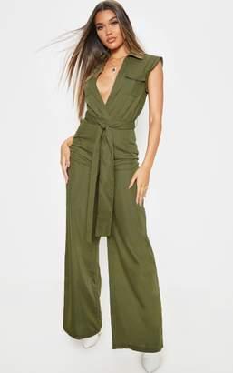 PrettyLittleThing Khaki Sleeveless Shirt Wide Leg Jumpsuit