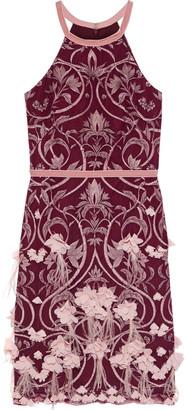 Marchesa Notte Velvet-trimmed Appliqued Embroidered Tulle Dress