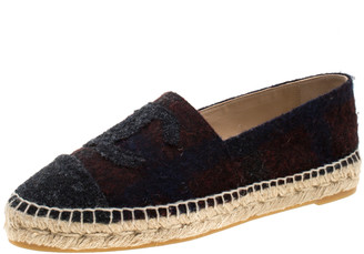 Chanel Multicolor Wool Blend Fabric CC Espadrilles Size 39