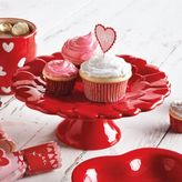 Sur La Table Embossed Italian Red Heart Cake Stand