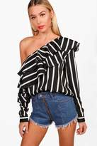 Boohoo Julia Stripe Ruffle One Shoulder Woven Top