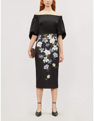 Ted Baker Opal Bardot satin midi dress