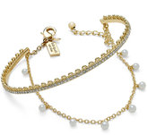 Kate Spade Gold-Tone Imitation Pearl and Crystal Chain and Cuff Bracelet