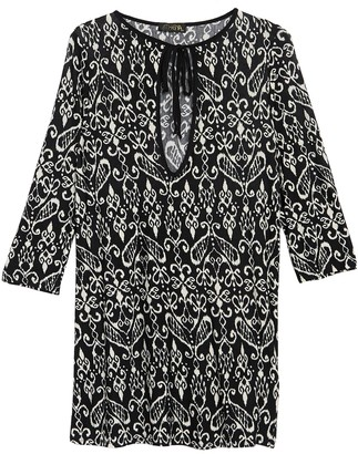 Athena Front Keyhole Printed Cover-Up Dress