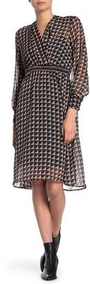 Superfoxx Geo Print Surplice Long Sleeve Midi Dress