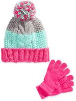 Berkshire Girls' 2-Pc. Pom-Pom Hat & Gloves Set