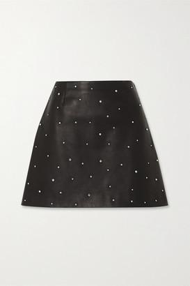 Miu Miu Crystal-embellished Leather Mini Skirt - Black