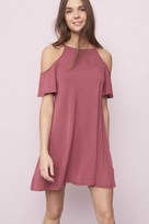 Garage High Neck Cold Shoulder Swing Dress