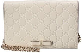 Gucci White Guccissima Leather Signature Bow Mini Wallet On Chain