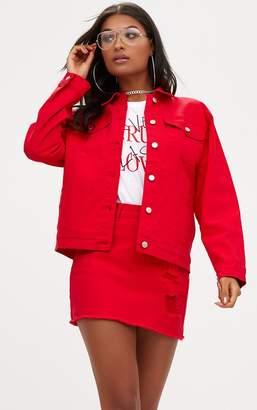 PrettyLittleThing Red Distressed Boyfriend Fit Denim Jacket