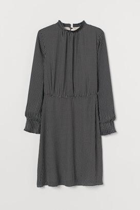 H&M Pleated-collar Dress - Beige