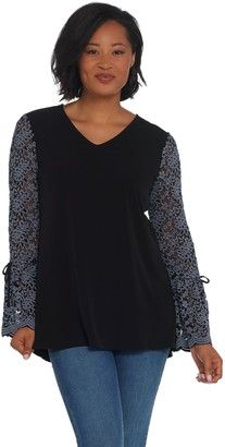 Susan Graver Liquid Knit Peplum Back Top with Lace Sleeves