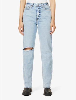GRLFRND Mica distressed high-rise straight leg jeans