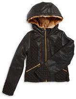 Jessica Simpson Girls 7-16 Faux Fur Trimmed Leatherette Jacket