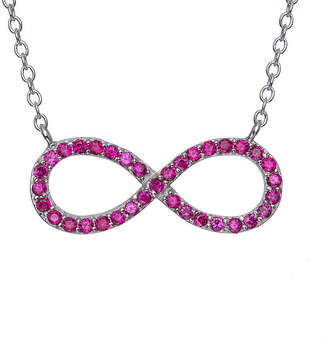 FINE JEWELRY Simulated Ruby Sterling Silver Infinity Necklace