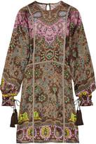 Etro Grosgrain-trimmed Printed Silk-twill Dress - Brown