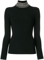 Alexander Wang rib knit sweater with gem embellished neck