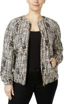 Calvin Klein Womens Plus Printed Long Sleeves Bomber Jacket
