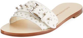 Alexander McQueen Leather Embellished Flat Sandal