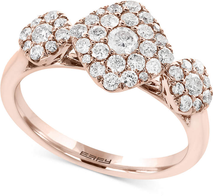 Effy Pave Rose by Diamond Tri-Cluster Ring (3/4 ct. t.w.) in 14k Rose Gold
