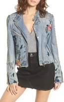 Blank NYC BLANKNYC Sea of Flowers Studded Denim Moto Jacket