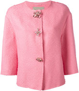 Ermanno Scervino floral buttons tweed jacket - women - Cotton/Linen/Flax/Polyamide/Polyester - 38