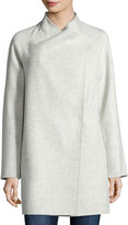 Vince Stand-Collar Wrap Coat, Light Heather Gray