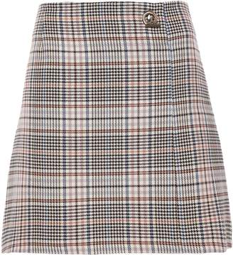 Sandro Prince Of Wales Checked Cotton-blend Mini Skirt