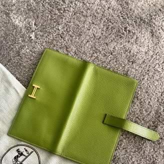 Hermes Bearn Green Leather Wallets