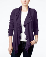 Karen Scott Petite Luxsoft Ruffled Open-Front Cardigan, Only at Macy's