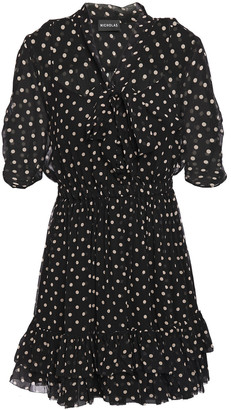 Nicholas Tie-neck Ruffled Polka-dot Silk-chiffon Mini Dress