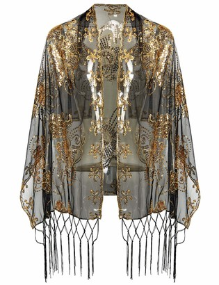 BABEYOND 1920s Sequined Flower Shawl Wraps Fringed Evening Cape Wedding Bridal Shawl Scarf for Evening Dresses Party - - One Size