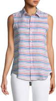 Frank And Eileen Fiona Sleeveless Striped Linen Shirt