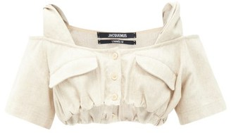 Jacquemus Alzou Twisted-strap Buttoned Canvas Cropped Top - Light Beige